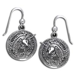 Celtic Unicorn Silver Earrings 52-TER214