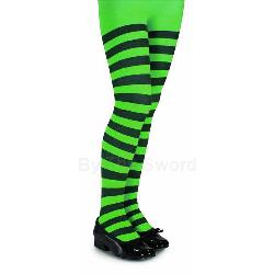 Green and Black Striped Tights - Child 100-186751