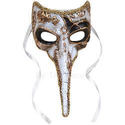 Long-Nosed Black & White Venetian Adult Mask 100-196204