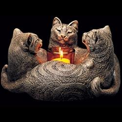 Trio of Cats Candlelamp